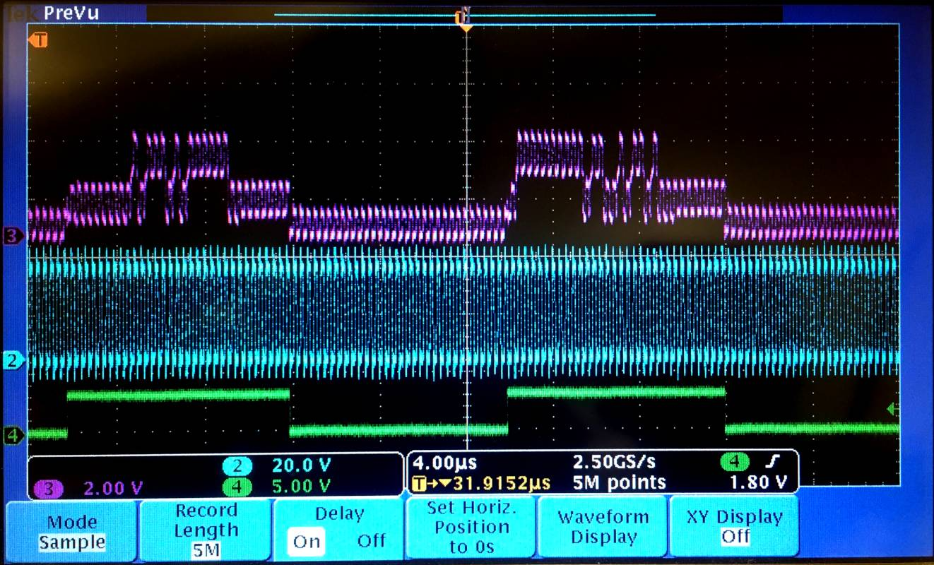 Signal traces on an oscilloscope